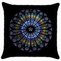 Stained Glass Rose Window In France s Strasbourg Cathedral Throw Pillow Case (black)