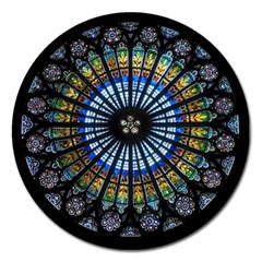 Stained Glass Rose Window In France s Strasbourg Cathedral Magnet 5  (round)
