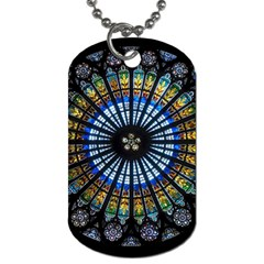 Stained Glass Rose Window In France s Strasbourg Cathedral Dog Tag (two Sides)