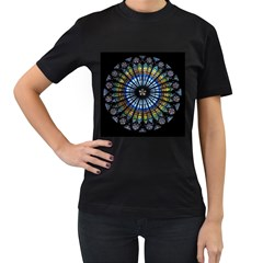 Stained Glass Rose Window In France s Strasbourg Cathedral Women s T-Shirt (Black) (Two Sided)