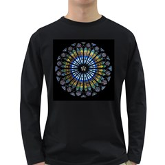 Stained Glass Rose Window In France s Strasbourg Cathedral Long Sleeve Dark T Shirts