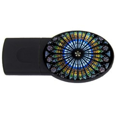 Stained Glass Rose Window In France s Strasbourg Cathedral Usb Flash Drive Oval (4 Gb)