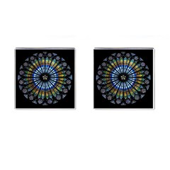 Stained Glass Rose Window In France s Strasbourg Cathedral Cufflinks (square)