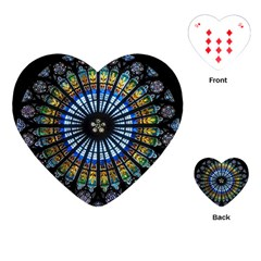 Stained Glass Rose Window In France s Strasbourg Cathedral Playing Cards (heart)