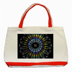 Stained Glass Rose Window In France s Strasbourg Cathedral Classic Tote Bag (Red)