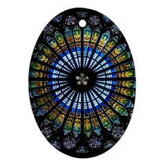 Stained Glass Rose Window In France s Strasbourg Cathedral Oval Ornament (two Sides)
