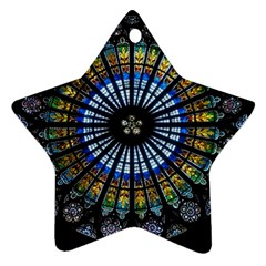 Stained Glass Rose Window In France s Strasbourg Cathedral Star Ornament (two Sides)