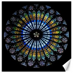 Stained Glass Rose Window In France s Strasbourg Cathedral Canvas 12  X 12