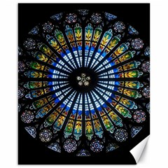Stained Glass Rose Window In France s Strasbourg Cathedral Canvas 16  x 20