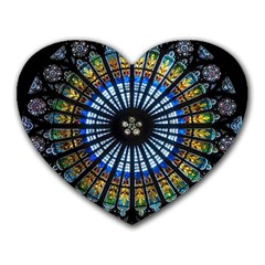 Stained Glass Rose Window In France s Strasbourg Cathedral Heart Mousepads