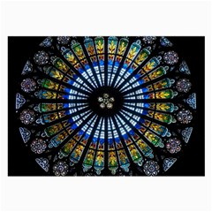 Stained Glass Rose Window In France s Strasbourg Cathedral Large Glasses Cloth (2 Side)