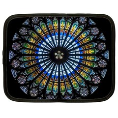 Stained Glass Rose Window In France s Strasbourg Cathedral Netbook Case (large)