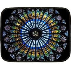 Stained Glass Rose Window In France s Strasbourg Cathedral Double Sided Fleece Blanket (mini)
