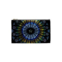 Stained Glass Rose Window In France s Strasbourg Cathedral Cosmetic Bag (Small)