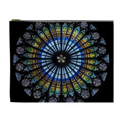 Stained Glass Rose Window In France s Strasbourg Cathedral Cosmetic Bag (xl)
