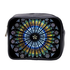Stained Glass Rose Window In France s Strasbourg Cathedral Mini Toiletries Bag 2 Side