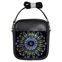 Stained Glass Rose Window In France s Strasbourg Cathedral Girls Sling Bags