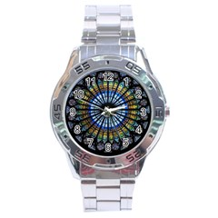 Stained Glass Rose Window In France s Strasbourg Cathedral Stainless Steel Analogue Watch