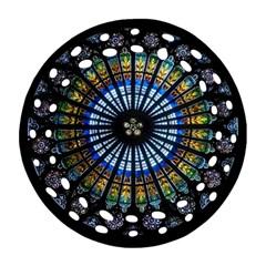 Stained Glass Rose Window In France s Strasbourg Cathedral Round Filigree Ornament (Two Sides)