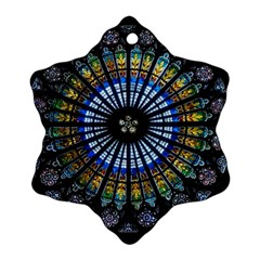 Stained Glass Rose Window In France s Strasbourg Cathedral Snowflake Ornament (two Sides)