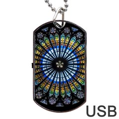 Stained Glass Rose Window In France s Strasbourg Cathedral Dog Tag Usb Flash (one Side)