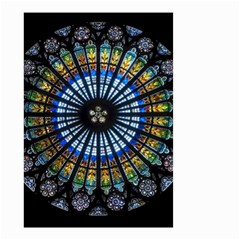 Stained Glass Rose Window In France s Strasbourg Cathedral Small Garden Flag (two Sides)