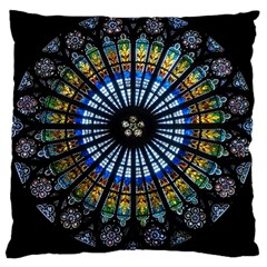 Stained Glass Rose Window In France s Strasbourg Cathedral Large Cushion Case (one Side)