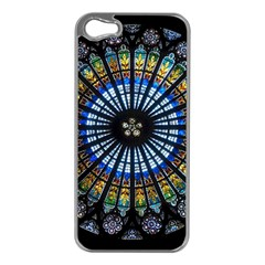 Stained Glass Rose Window In France s Strasbourg Cathedral Apple iPhone 5 Case (Silver)