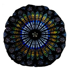 Stained Glass Rose Window In France s Strasbourg Cathedral Large 18  Premium Round Cushions