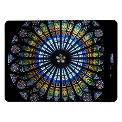 Stained Glass Rose Window In France s Strasbourg Cathedral Samsung Galaxy Tab Pro 12.2  Flip Case