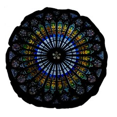 Stained Glass Rose Window In France s Strasbourg Cathedral Large 18  Premium Flano Round Cushions