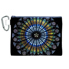 Stained Glass Rose Window In France s Strasbourg Cathedral Canvas Cosmetic Bag (XL)