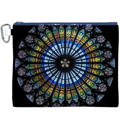 Stained Glass Rose Window In France s Strasbourg Cathedral Canvas Cosmetic Bag (xxxl)