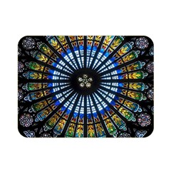 Stained Glass Rose Window In France s Strasbourg Cathedral Double Sided Flano Blanket (mini)
