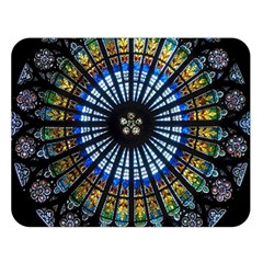Stained Glass Rose Window In France s Strasbourg Cathedral Double Sided Flano Blanket (large)