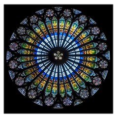 Stained Glass Rose Window In France s Strasbourg Cathedral Large Satin Scarf (square)