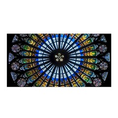 Stained Glass Rose Window In France s Strasbourg Cathedral Satin Wrap