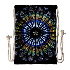 Stained Glass Rose Window In France s Strasbourg Cathedral Drawstring Bag (large)