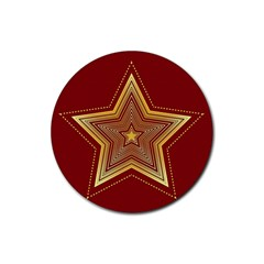 Christmas Star Seamless Pattern Rubber Round Coaster (4 pack)