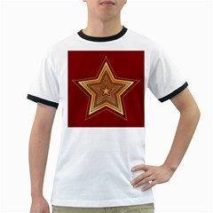 Christmas Star Seamless Pattern Ringer T-Shirts