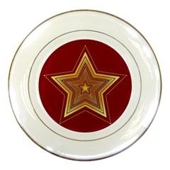 Christmas Star Seamless Pattern Porcelain Plates