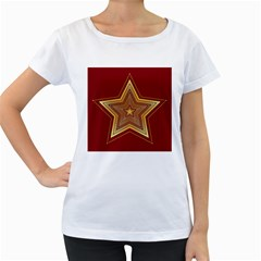 Christmas Star Seamless Pattern Women s Loose Fit T Shirt (white)