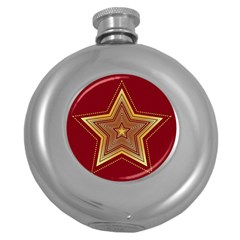 Christmas Star Seamless Pattern Round Hip Flask (5 oz)
