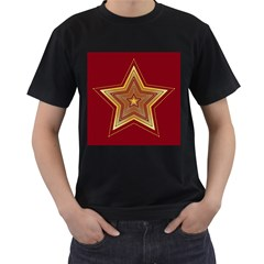 Christmas Star Seamless Pattern Men s T Shirt (black)