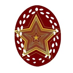 Christmas Star Seamless Pattern Oval Filigree Ornament (Two Sides)