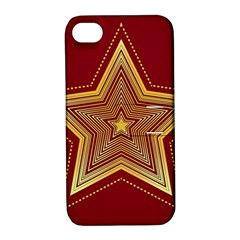 Christmas Star Seamless Pattern Apple Iphone 4/4s Hardshell Case With Stand