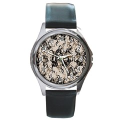 Dragon Pattern Background Round Metal Watch