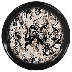 Dragon Pattern Background Wall Clocks (black)