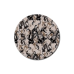 Dragon Pattern Background Rubber Round Coaster (4 pack)