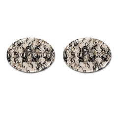 Dragon Pattern Background Cufflinks (oval)